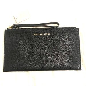 NWT Michael Kors Black Leather Wristlet Clutch
